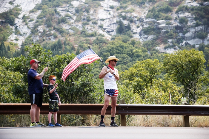 A patriotic fan up in Little Cottonwood Canyon.  Stage 5 of the 2018 Tour of Utah, August 10, 2018. Photo by Cathy Fegan-Kim, www.cottonsoxphotography.net