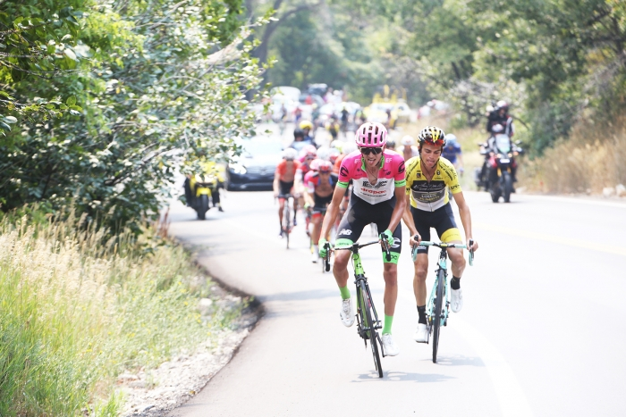 Dombrowski and Kuss chases down Frankiny. Stage 5 of the 2018 Tour of Utah, August 10, 2018. Photo by Cathy Fegan-Kim, www.cottonsoxphotography.net