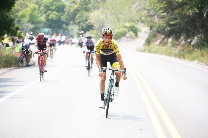 Sepp Kuss attacks.  Stage 5 of the 2018 Tour of Utah, August 10, 2018. Photo by Cathy Fegan-Kim, www.cottonsoxphotography.net