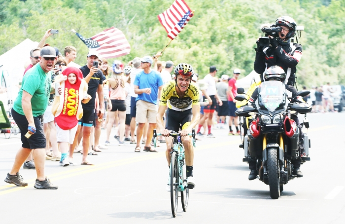Sepp Kuss passes the crowd of Tanner Flat. Stage 5 of the 2018 Tour of Utah, August 10, 2018. Photo by Cathy Fegan-Kim, www.cottonsoxphotography.net