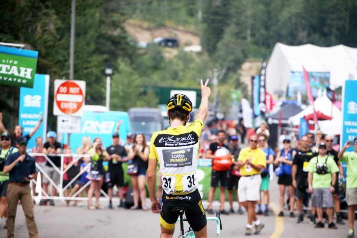 Victory.  Stage 5 of the 2018 Tour of Utah, August 10, 2018. Photo by Cathy Fegan-Kim, www.cottonsoxphotography.net