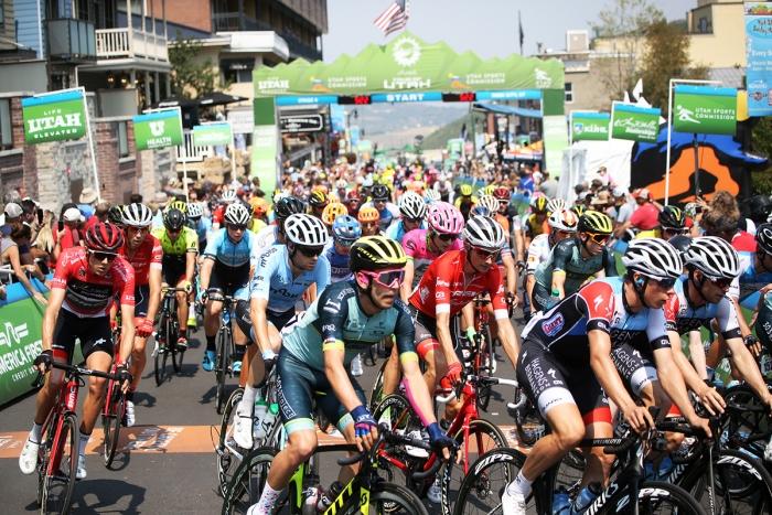 Neutral laps on Main Street, Park City. 2018 Tour of Utah Stage 6, August 12, 2018, Park City, Utah. Photo by Cathy Fegan-Kim, cottonsoxphotography.net