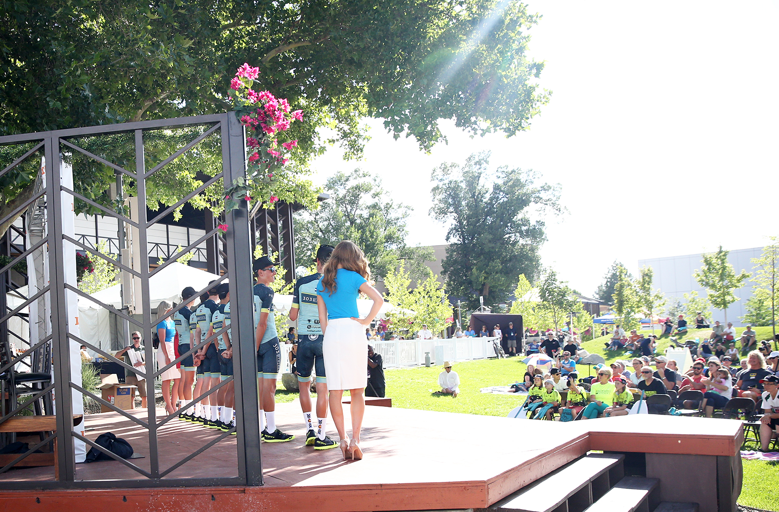 A beautiful day for the Tour of Utah Team Presentation at the Southern Utah University. 2018 Tour of Utah Team Presentation, August 4, 2018, Cedar City, Utah. Photo by Cathy Fegan-Kim, cottonsoxphotography.net