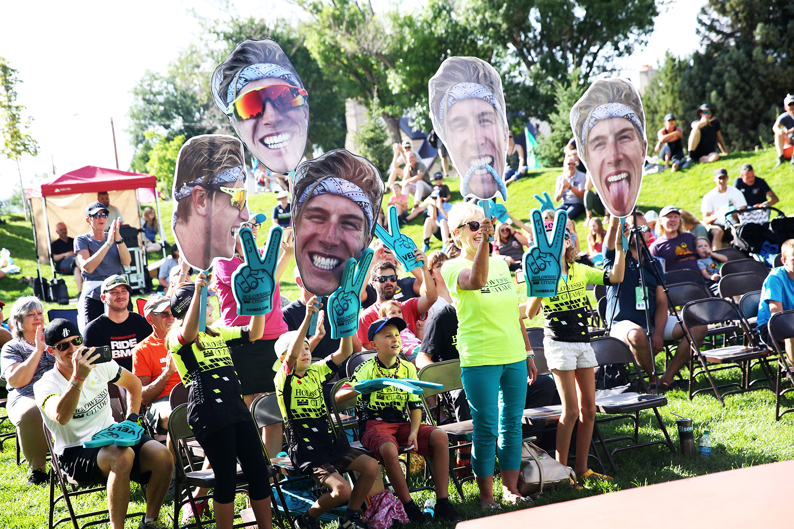 As in the last few years, the Eisenhart family were out in full force to cheer on Utah rider TJ Eisenhart of Holowesko/Citadel P/B Araphaoe Resources. 2018 Tour of Utah Team Presentation, August 4, 2018, Cedar City, Utah. Photo by Cathy Fegan-Kim, cottonsoxphotography.net