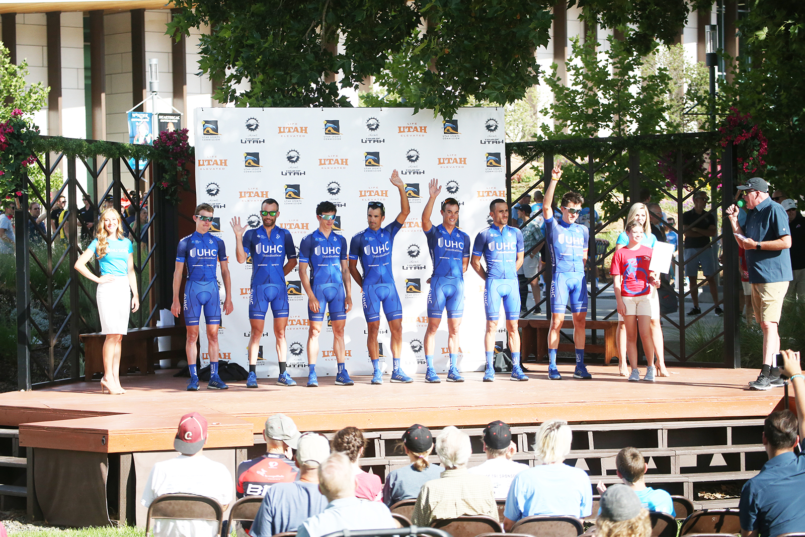 United Healthecare Professional Cycling Team. 2018 Tour of Utah Team Presentation, August 4, 2018, Cedar City, Utah. Photo by Cathy Fegan-Kim, cottonsoxphotography.net