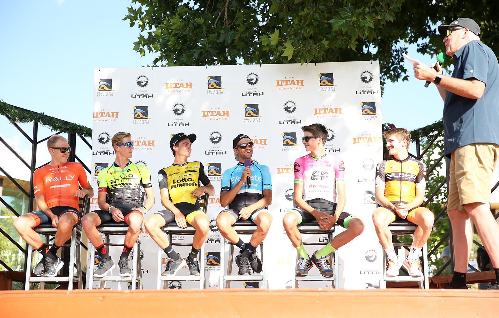 Rider interviews at the 2018 Tour of Utah Team Presentation, August 4, 2018, Cedar City, Utah. Photo by Cathy Fegan-Kim, cottonsoxphotography.net