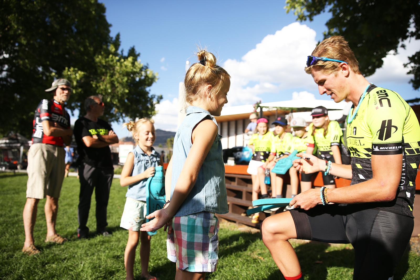 Mini fans. 2018 Tour of Utah Team Presentation, August 4, 2018, Cedar City, Utah. Photo by Cathy Fegan-Kim, cottonsoxphotography.net