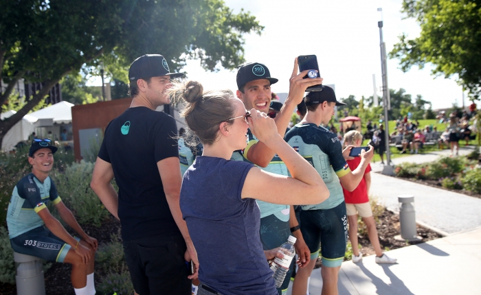 303 Project rider sharing the start of his Tour of Utah experience on Insta Story. 2018 Tour of Utah Team Presentation, August 4, 2018, Cedar City, Utah. Photo by Cathy Fegan-Kim, cottonsoxphotography.net