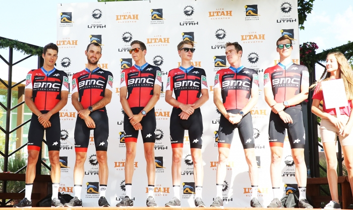 BMC Racing Team will be a force to be reckoned with. 2018 Tour of Utah Team Presentation, August 4, 2018, Cedar City, Utah. Photo by Cathy Fegan-Kim, cottonsoxphotography.net