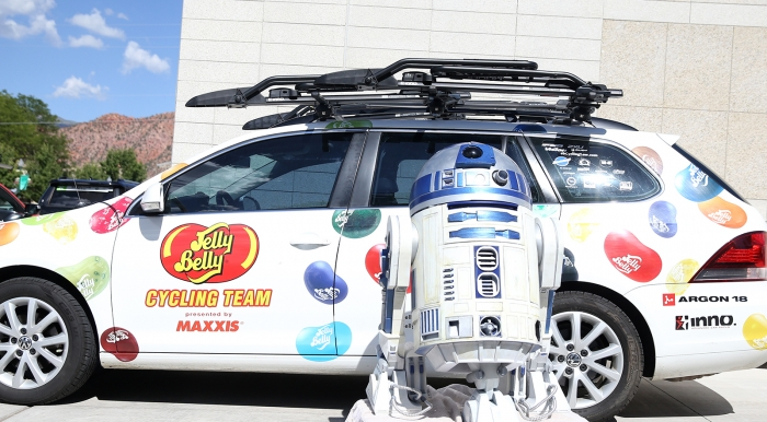 R2-D2 and the Jelly Belly P/B Maxxis team car.  2018 Tour of Utah Team Presentation, August 4, 2018, Cedar City, Utah. Photo by Cathy Fegan-Kim, cottonsoxphotography.net