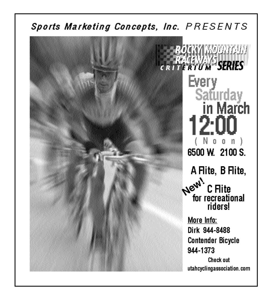 Ad for the 2001 Rocky Mountain Raceways Criterium Series.
