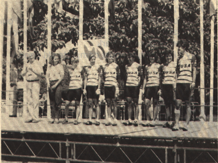 A picture of our team (USA) at the team presentation, 1988. From left, Tdf personnel, team manager Paula Andros, Betsy King, Laura Howat, Linda Brennaman, Laura Charameda, Annie Sirotniak, Susan Yeaton and ?.