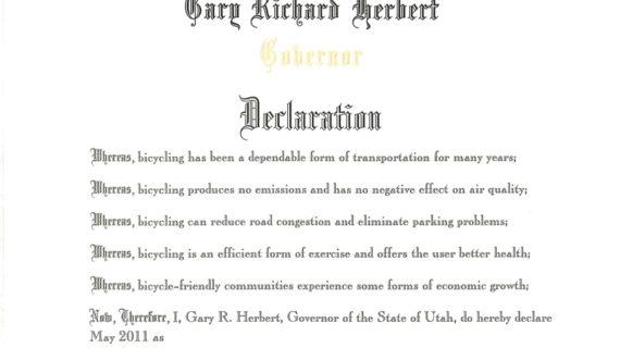 Governor Herbert Declares May as Utah Bike Month