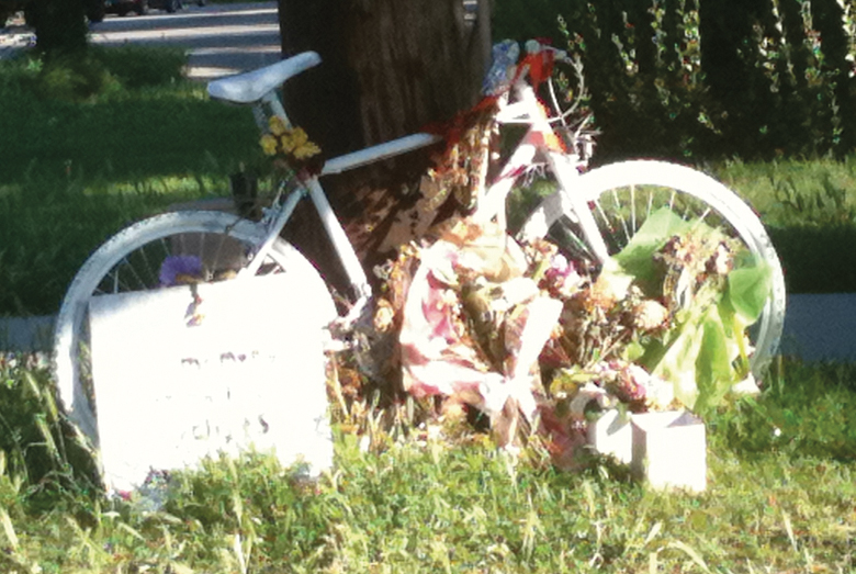 A ghost bike was placed near the location where Brynn Barton was killed in a hit-and-run in June 2011. Photo: Dave Iltis