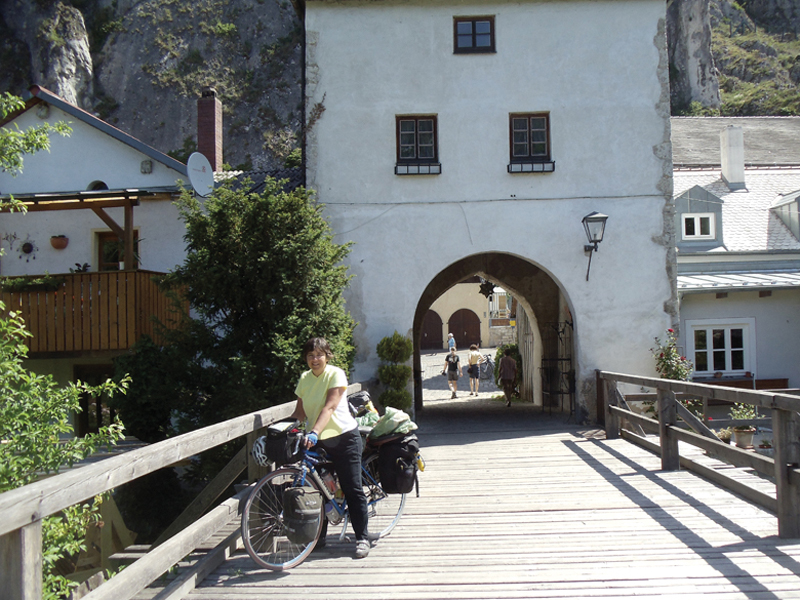 Julie exiting a small town on Danube bike trail. Photo: Lou Melini