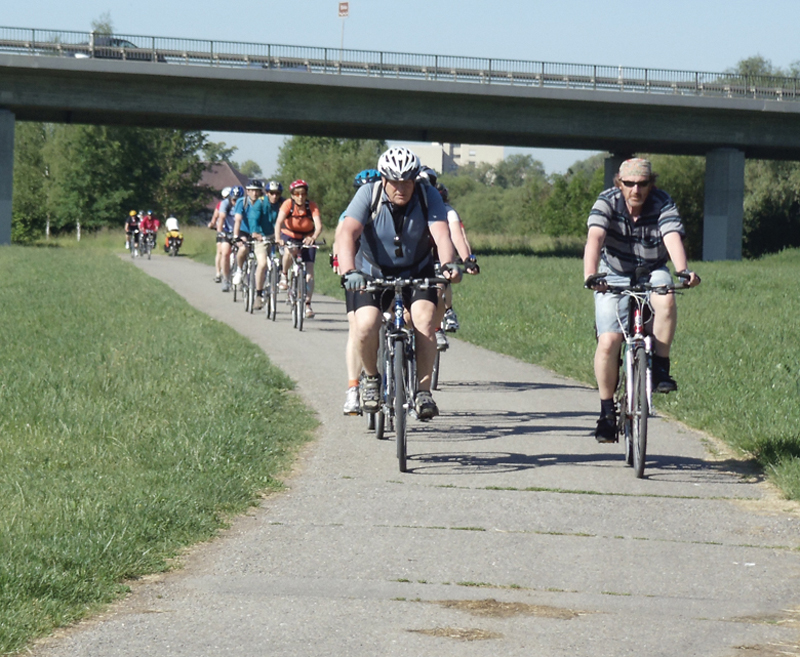 On the Danube Trail, a typical scene from bike trail with lots of riders.