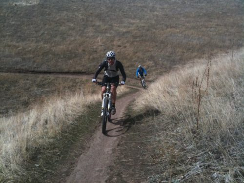 2 riders on the Bonneville Shoreline Trail. The BST is a key part of Salt Lake City's open space. Photo by Dave Iltis