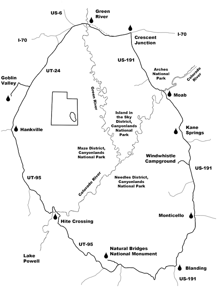 The route 'round the Canyonlands.