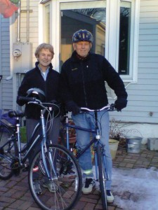 Nancy and John Rasmuson commute regularly.