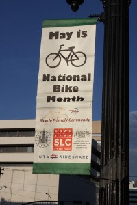 Look for Utah Bike Month Banners in Downtown SLC!