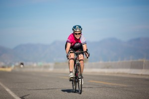 Debora Adam enjoying herself at the Salt Air Time Trial.