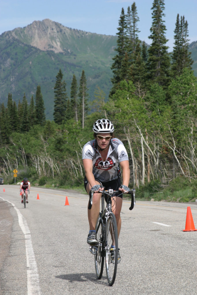 The Big Cottonwood Canyon Porcupine Hillclimb takes place in July each year. A rider is shown here with Mt. Raymond in the background. Photo: Dave Iltis