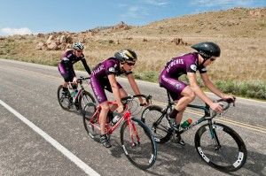 The Weber State team raced in the team time trial on Antelope Island.