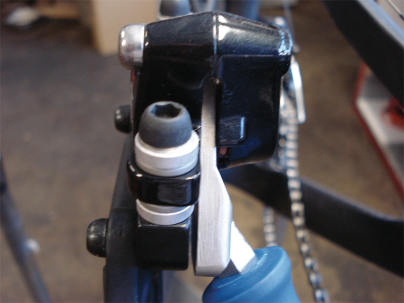 Use a brake piston tool to reset and lube the brake pistons.