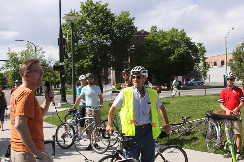 Salt Lake City. Mayor Becker (yellow vest) listens to new perspectives on bikeable cities.
