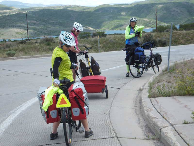 The overnighter group above Park City getting ready to descend to Hwy 40 at the Mayflower Exit. The Jordanelle Reservoir is in the background.