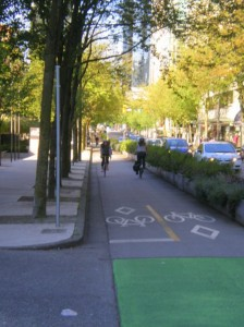 One of Vancouver's many protected bikeways.