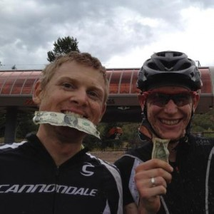 Ben Sonntag and Alex GrRant with our dollar bills complimentary of Gilly aka Slyfox
