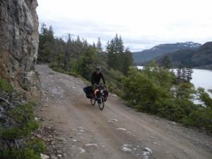 Riding along the shore of Bowman Lake.