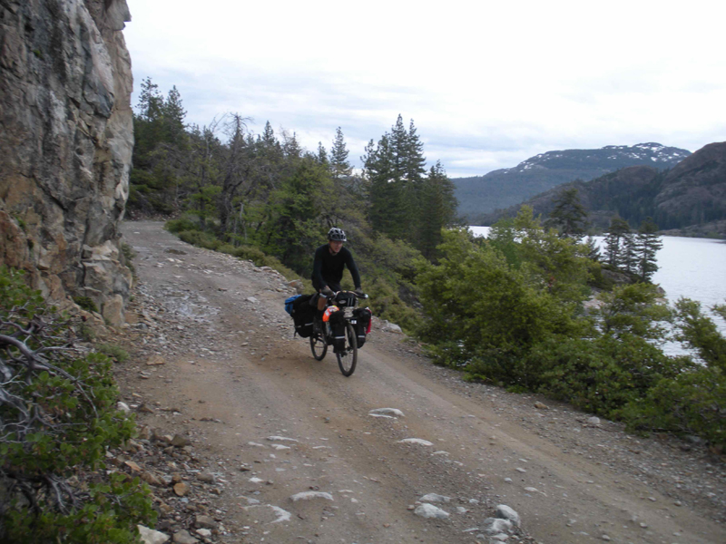 Geoff riding up the North Fork of the Yuba toward Downieville.