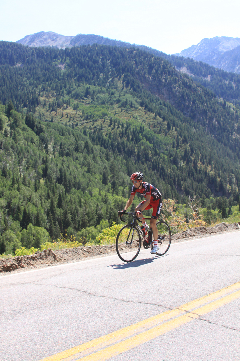 Johann Tschopp (BMC) in Little Cottonwood Canyon on his way to winning stage 5 and the overall race
