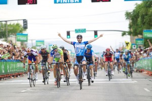Jacob Keough (United HealthCare) won stage 4 in a well timed sprint. Note his teammate celebrating in the field. Photo: Cathy Fegan-Kim,
