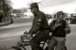 Afghanistan Cops on bikes.