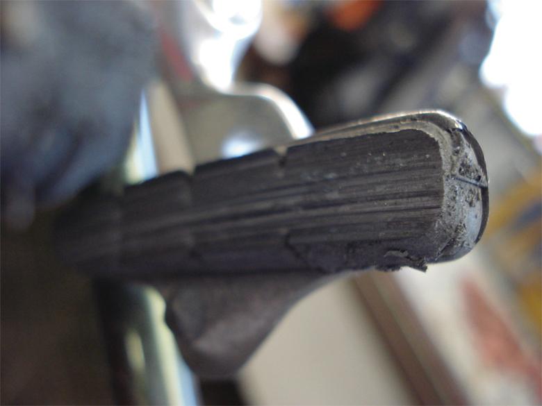Brake pads worn beyond wear grooves