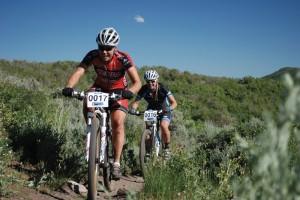 Pro Women's winner Amanda Carey (Kenda/Felt) leads Erica Tingey White Pine Touring