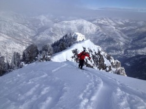 Dave Stockham skinning to the top of Kessler Peak