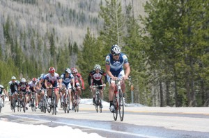 The Men's Pro 1-2 Cyclists approach the Snowline, halfway point of the High Uintas road Race