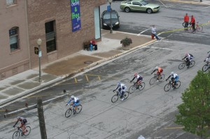 Cyclists charge up the hill in Evanston Wyoming in the criterium
