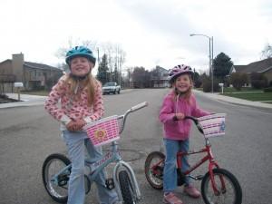 The Barrett girls on bikes.