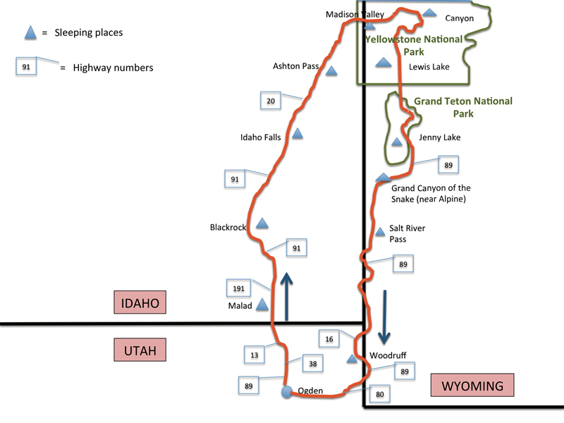 A map of the route Ogden to Yellowstone and back.