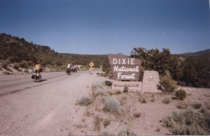 Cyclists enter the Dixie National Forest