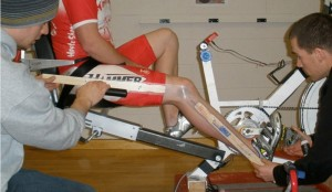 A cyclist being tested on the eccentric cycle ergometer.