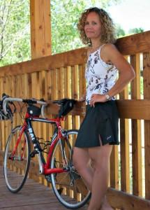 Paula is wearing Terry women's specific bike clothing.