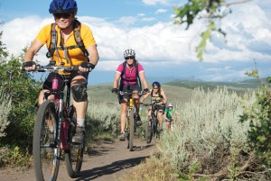 Riders on the trail during a White Pine Team Sugar Women's ride.