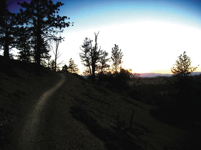 Sunrise over the Thunder Mountain Trail.