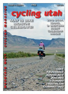 Cycling Utah's May 2013 Cover: Cover: John Roberson heading east across Tule Valley in the west desert of Utah, towards the House Range.  In the distance the road leads into Marjum Canyon and the pass beyond. See the story on page 42. Photo: John Roberson